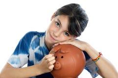 Girl whit money box Stock Photo