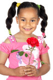 Girl whit one rose Royalty Free Stock Image