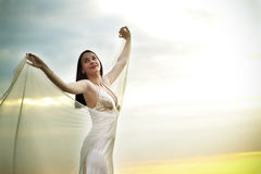 A girl in the white Stock Photography
