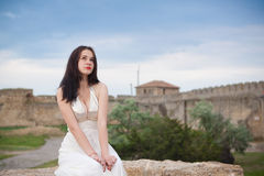 A girl in the white Stock Photos