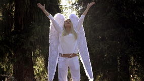 Girl in White with Angel Wings stock video