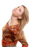 Girl on white background. Blonde russian long-haired girl on white background royalty free stock photos