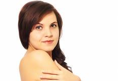 Girl on a white background. Smiling girl on white background Stock Photos