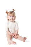 Girl on white background. A child on a white background. Clipping path Royalty Free Stock Photos