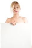 Girl with white banner Stock Photos