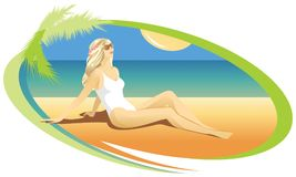 Blond girl sunbathing on the beach. vector illustration