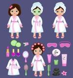 Girl in white bathrobe takes spa treatments. Royalty Free Stock Images