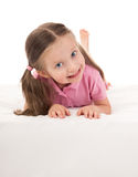 Girl in white bed Stock Images