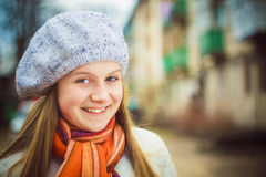 The girl in a white beret Royalty Free Stock Photos