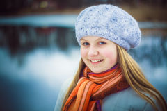 The girl in a white beret Royalty Free Stock Photo
