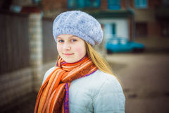 The Girl In A White Beret Royalty Free Stock Images