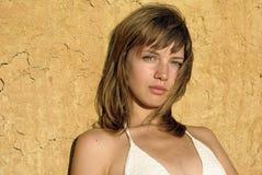Girl in a white bikini Stock Images