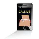 Girl in white bikini on mobile phone Stock Photo