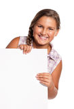 Girl with white blank Royalty Free Stock Photography