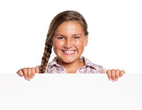 Girl with white blank Royalty Free Stock Photos