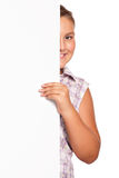 Girl with white blank Royalty Free Stock Image