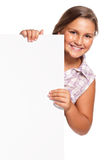 Girl with white blank Stock Photo