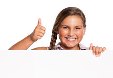 Girl with white blank. Portrait of happy girl with white blank isolated on white background Royalty Free Stock Images