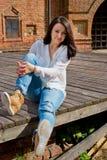 Girl in white blouse Stock Photo