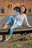 Girl in white blouse Stock Image