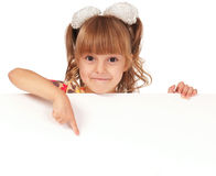 Girl with white board Stock Photo