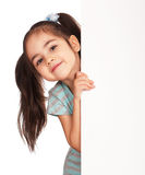 Girl with white board stock photos