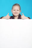 Girl and white board Stock Photo