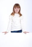 Girl and white board Royalty Free Stock Images