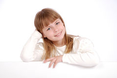 Girl and white board Stock Image