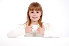 Girl and white board Stock Photography