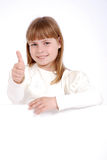 Girl and white board Royalty Free Stock Image
