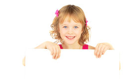 Girl with white bord. Royalty Free Stock Image