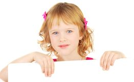 Girl with white bord. Royalty Free Stock Photos