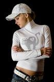 Girl in white cap Stock Photo