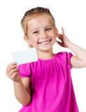 Girl with a white card Stock Photos