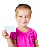 Girl with a white card Royalty Free Stock Photos