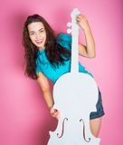 Girl with white cello Stock Image
