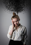 Girl in white and chaos. Royalty Free Stock Photos