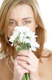 Girl with white chrysanthemum stock photo
