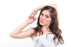 Girl in a white cloth Royalty Free Stock Image