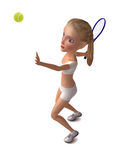 Girl in white clothes plays tennis. Royalty Free Stock Photography