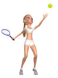 Girl in white clothes plays tennis. Stock Photo