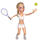 Girl in white clothes plays tennis. Stock Images