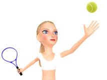 Girl in white clothes plays tennis. Stock Image