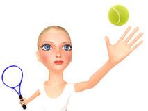 Girl in white clothes plays tennis. Stock Photography