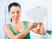 Girl with white cloud Royalty Free Stock Images