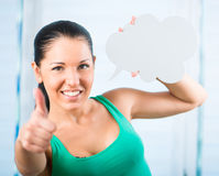 Girl with white cloud Stock Image