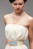 Girl in white coctail dress Stock Photos