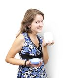 Girl with white cosmetic container Stock Photo