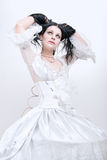 Girl in white dress. Gothic girl in white dress, cold ice queen Royalty Free Stock Image